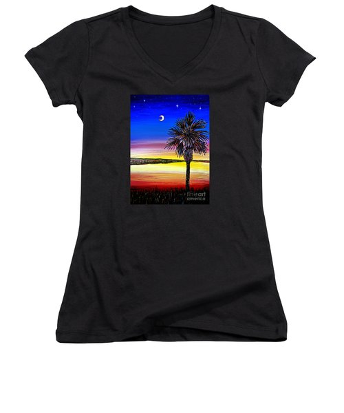 Palmetto Sunset Moon And Stars Women's V-Neck T-Shirt (Junior Cut) by Patricia L Davidson