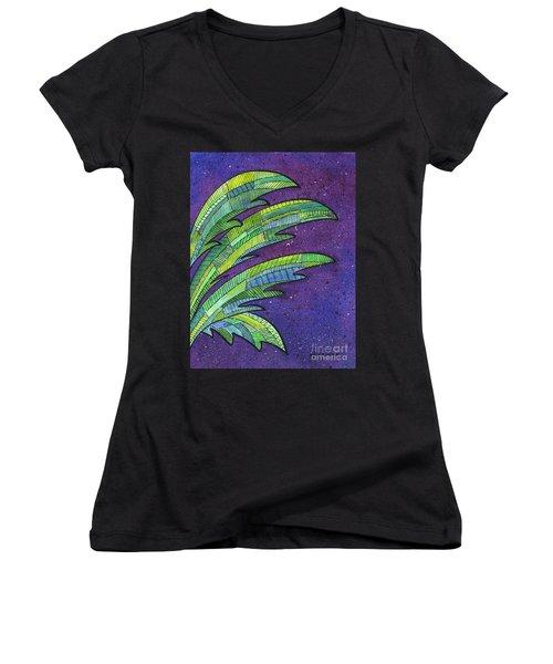 Palms Against The Night Sky Women's V-Neck
