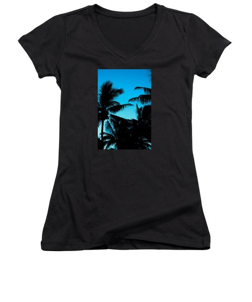 Women's V-Neck T-Shirt (Junior Cut) featuring the photograph Palms At Dusk With Sliver Of Moon by Lehua Pekelo-Stearns