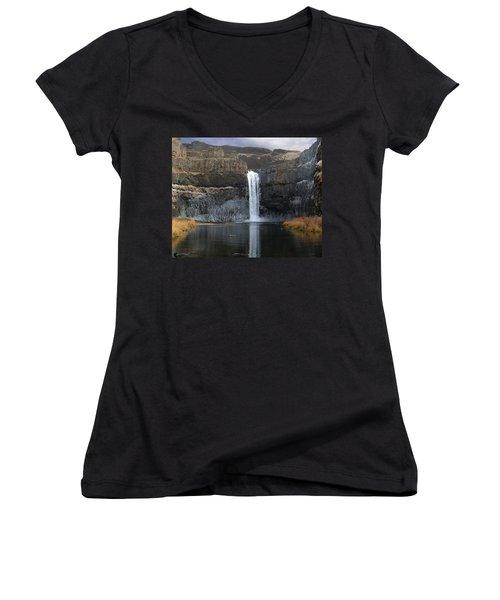 Palouse Falls In The Winter Women's V-Neck