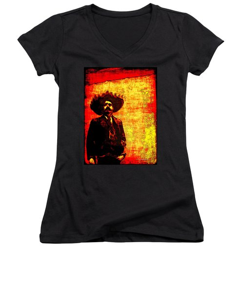 Pancho Villa Women's V-Neck T-Shirt (Junior Cut) by Joan  Minchak