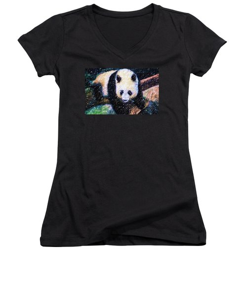Women's V-Neck T-Shirt (Junior Cut) featuring the painting Panda In The Rest by Lanjee Chee