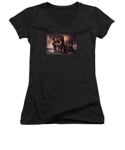 Panic Break Women's V-Neck T-Shirt (Junior Cut) by Randi Grace Nilsberg