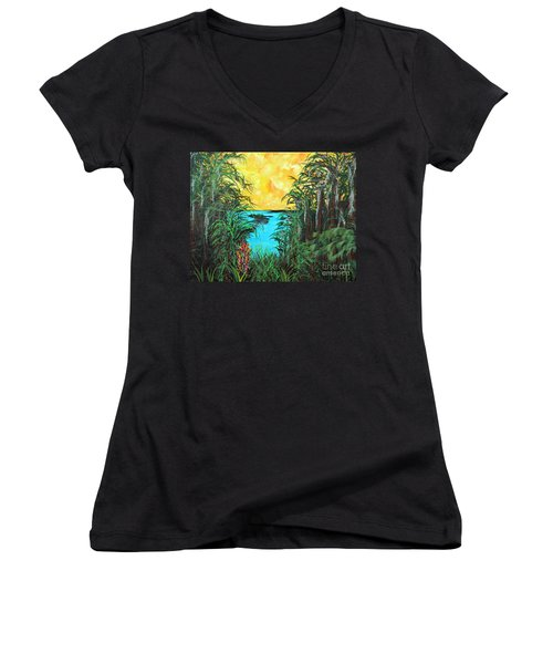 Women's V-Neck T-Shirt (Junior Cut) featuring the painting Panther Island In The Bayou by Alys Caviness-Gober