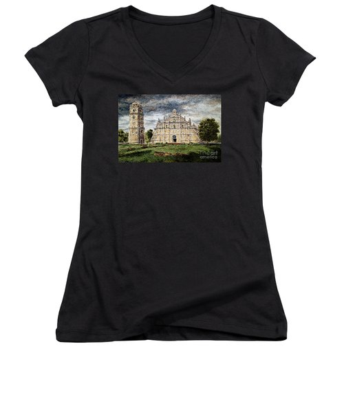 Paoay Church Women's V-Neck T-Shirt (Junior Cut) by Joey Agbayani