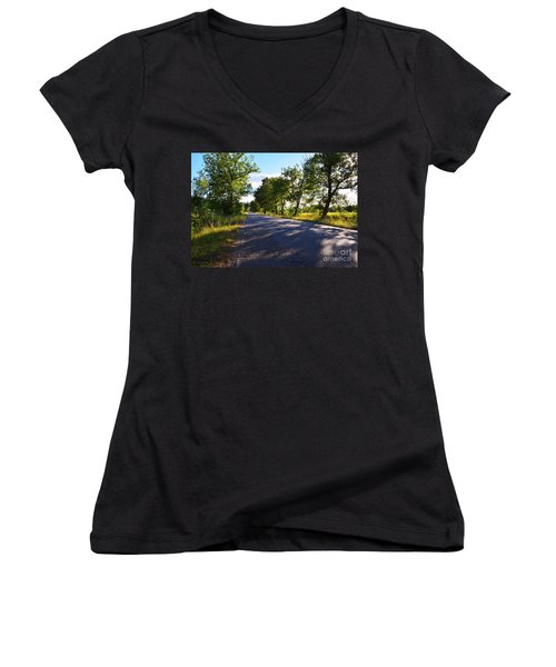 Women's V-Neck T-Shirt (Junior Cut) featuring the photograph Paradise Road by Ramona Matei