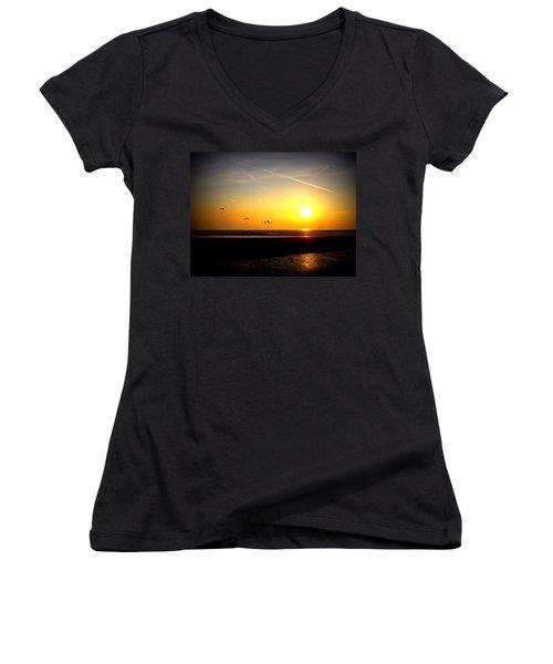 Paragliders At Sunset Women's V-Neck T-Shirt