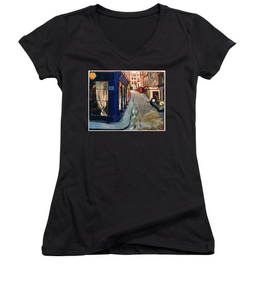 Women's V-Neck T-Shirt (Junior Cut) featuring the painting Paris Cityscape by Walter Casaravilla