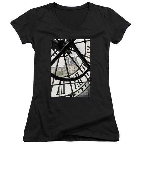 Paris Clock Women's V-Neck T-Shirt (Junior Cut) by Brian Jannsen