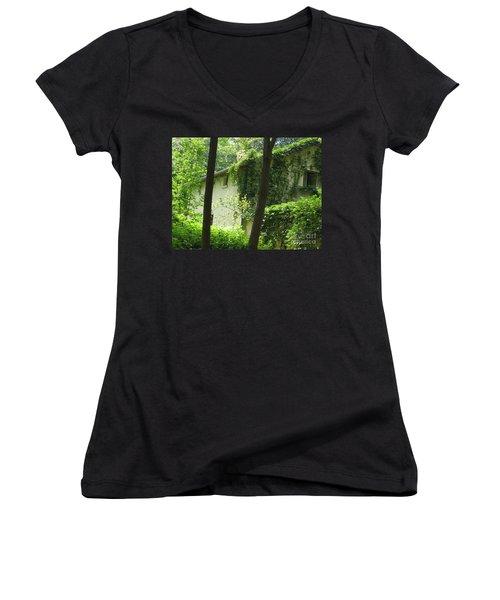 Paris - Green House Women's V-Neck T-Shirt (Junior Cut) by HEVi FineArt