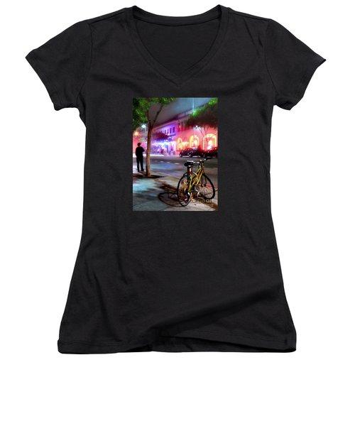 Women's V-Neck T-Shirt (Junior Cut) featuring the photograph Paris In Santa Monica by Jennie Breeze
