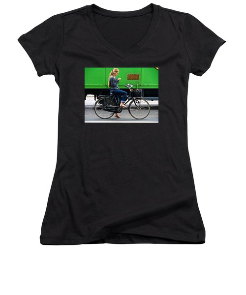 Women's V-Neck T-Shirt (Junior Cut) featuring the photograph Paris Interlude by Ira Shander