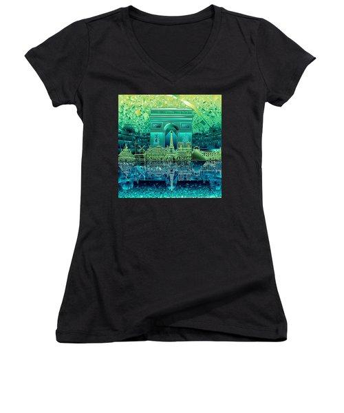 Paris Skyline Landmarks 6 Women's V-Neck T-Shirt (Junior Cut)