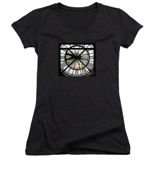 Women's V-Neck T-Shirt (Junior Cut) featuring the photograph Paris Time by Ann Horn