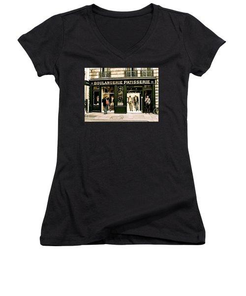 Women's V-Neck T-Shirt (Junior Cut) featuring the photograph Paris Waiting by Ira Shander