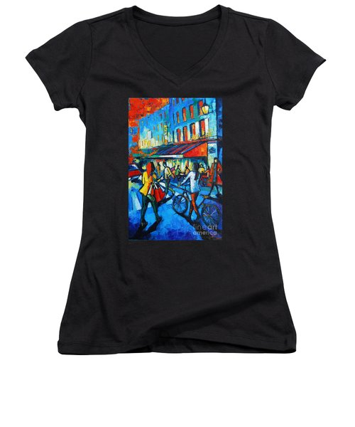 Parisian Cafe Women's V-Neck (Athletic Fit)