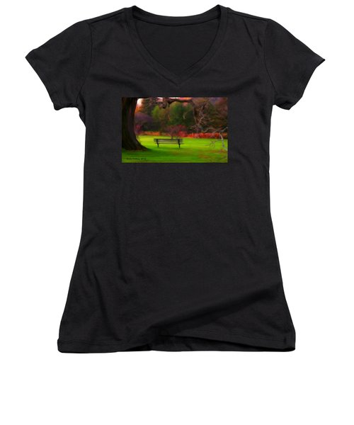 Women's V-Neck T-Shirt (Junior Cut) featuring the painting Park Bench by Bruce Nutting