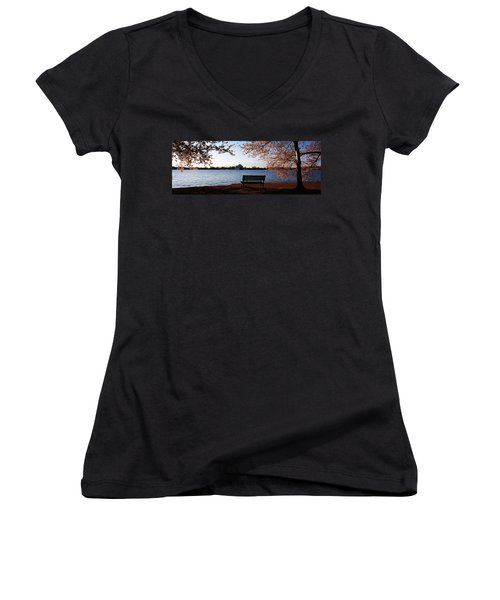 Park Bench With A Memorial Women's V-Neck T-Shirt (Junior Cut) by Panoramic Images