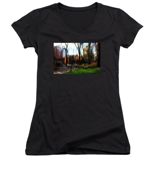 Women's V-Neck T-Shirt (Junior Cut) featuring the mixed media Park Block I by Terence Morrissey