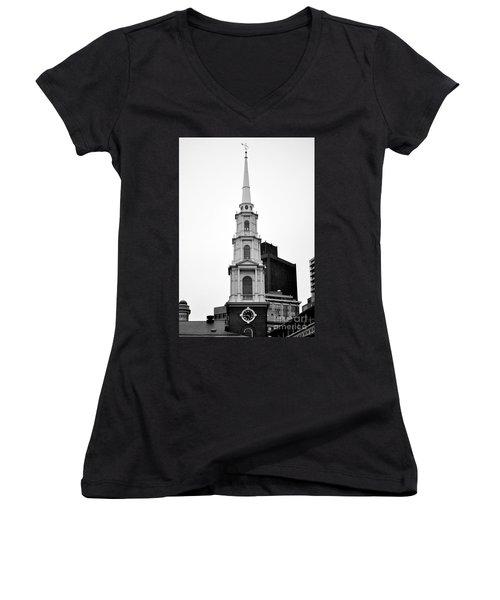 Park Street Church Boston Black And White Women's V-Neck