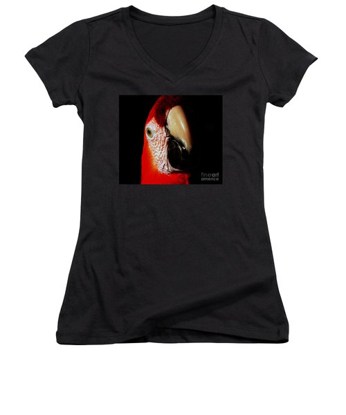 Women's V-Neck T-Shirt (Junior Cut) featuring the photograph Parrot by Gunter Nezhoda