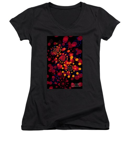 Party Time Abstract Painting Women's V-Neck T-Shirt