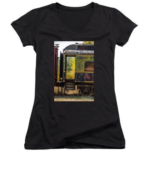 Passenger Car Entrance Women's V-Neck T-Shirt