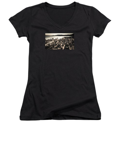 Passionate English Bay Mccclxxviii Women's V-Neck T-Shirt (Junior Cut) by Amyn Nasser