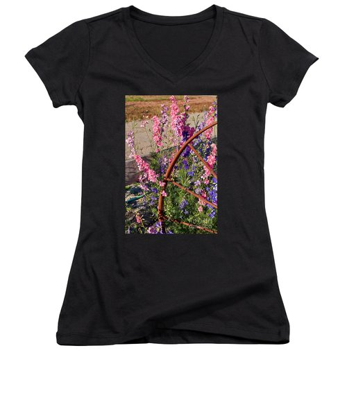 Pastel Colored Larkspur Flowers With Rusty Wagon Wheel Art Prints Women's V-Neck