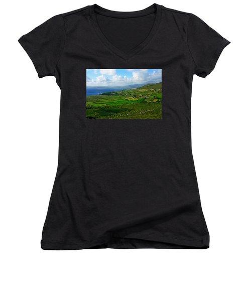 Patchwork Landscape Women's V-Neck T-Shirt (Junior Cut) by Aidan Moran