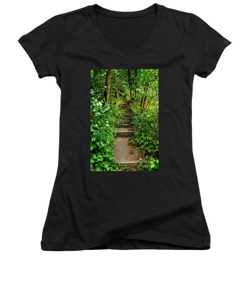 Path Into The Forest Women's V-Neck