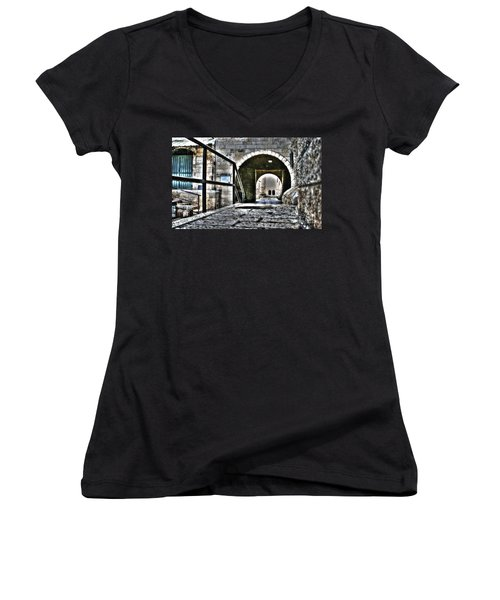 Women's V-Neck T-Shirt (Junior Cut) featuring the photograph Pathway Through Old Jerusalem by Doc Braham