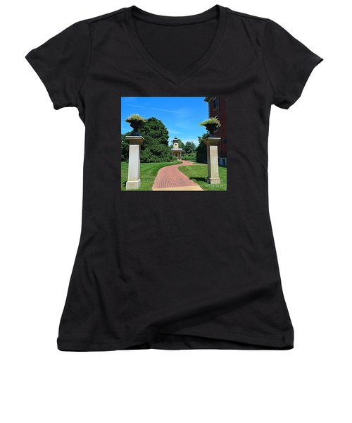 Pathway To The Observatory Women's V-Neck T-Shirt (Junior Cut) by Luther Fine Art