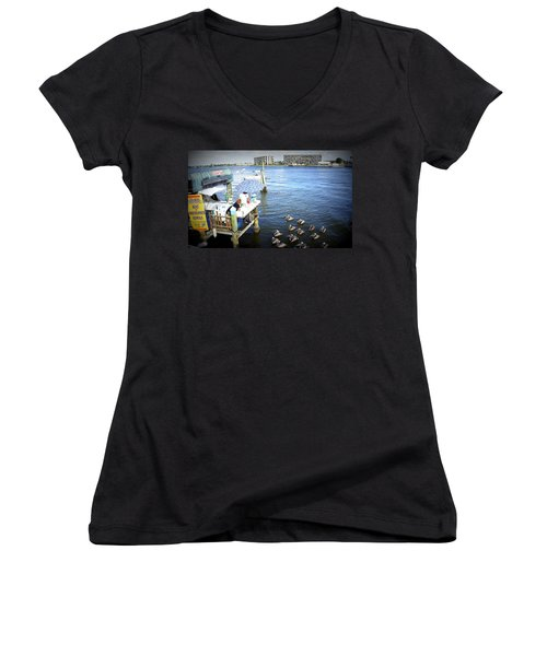 Women's V-Neck T-Shirt (Junior Cut) featuring the photograph Patiently Waiting by Laurie Perry