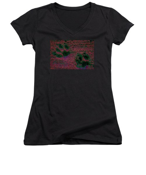 Paw Prints In Red And Green Women's V-Neck (Athletic Fit)