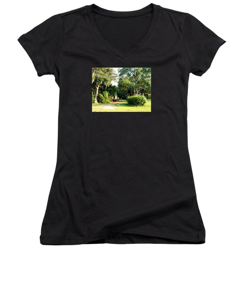 Peaceful Morning Women's V-Neck T-Shirt (Junior Cut) by Catherine Gagne