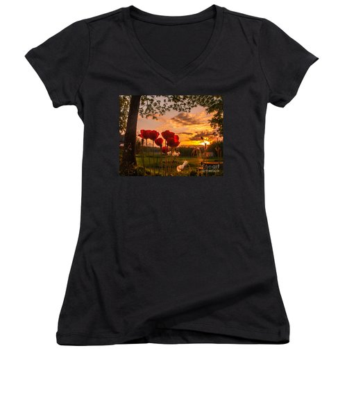 Women's V-Neck T-Shirt (Junior Cut) featuring the photograph Peaceful Poppy by Rose-Maries Pictures