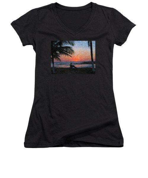 Peaceful Sunset Women's V-Neck T-Shirt (Junior Cut) by David Gleeson
