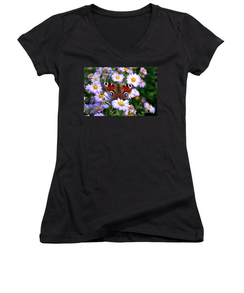 Peacock Butterfly Perched On The Daisies Women's V-Neck