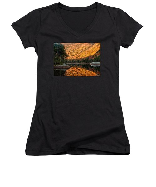 Women's V-Neck T-Shirt (Junior Cut) featuring the photograph Peak Fall Foliage On Beaver Pond by Jeff Folger