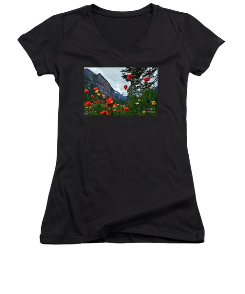 Peaks And Poppies Women's V-Neck T-Shirt