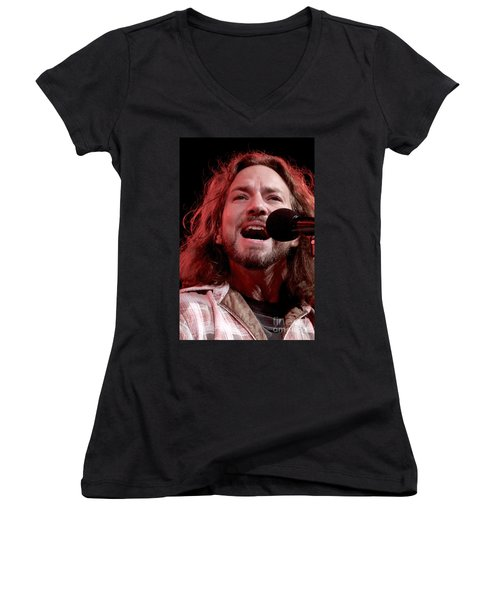 Pearl Jam Women's V-Neck T-Shirt (Junior Cut) by Concert Photos
