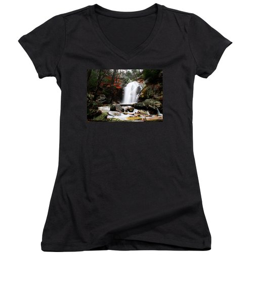 Peavine Falls In Autumn Women's V-Neck T-Shirt (Junior Cut) by Shelby  Young