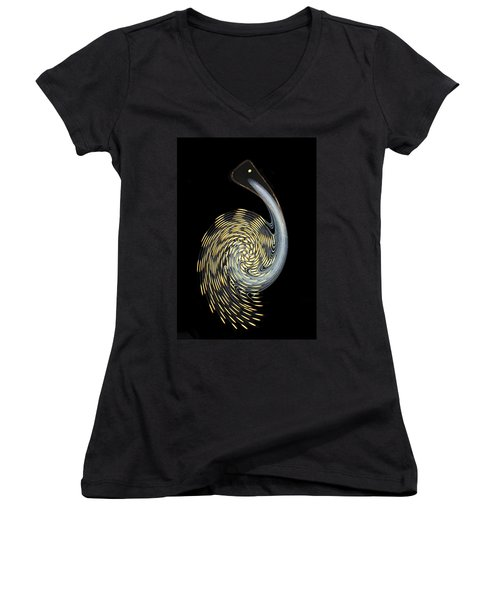 Pelican Perhaps Women's V-Neck T-Shirt (Junior Cut) by Kristin Elmquist
