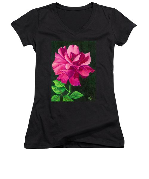 Pencil Rose Women's V-Neck T-Shirt