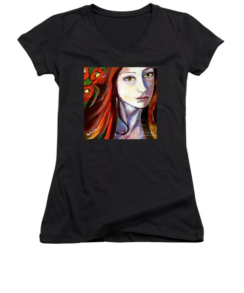 Women's V-Neck T-Shirt (Junior Cut) featuring the painting Pensive Lady by Helena Wierzbicki