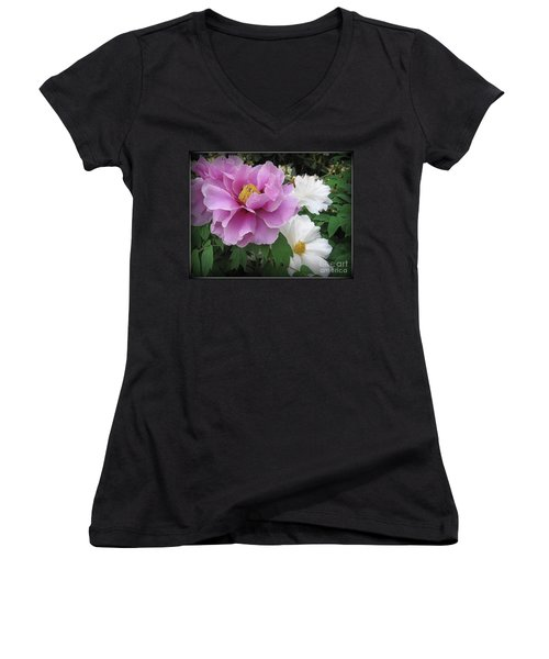 Peonies In White And Lavender Women's V-Neck T-Shirt (Junior Cut) by Dora Sofia Caputo Photographic Art and Design