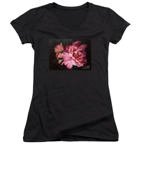 Peonies No 8 The Painting Women's V-Neck T-Shirt (Junior Cut) by Marlene Book