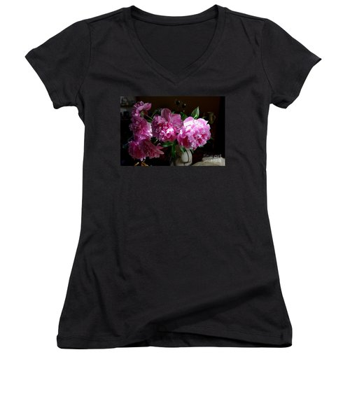 Peonies2 Women's V-Neck T-Shirt
