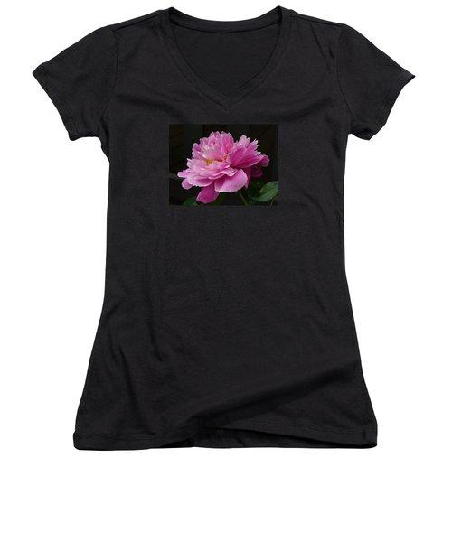 Women's V-Neck T-Shirt (Junior Cut) featuring the photograph Peony Blossoms by Lingfai Leung